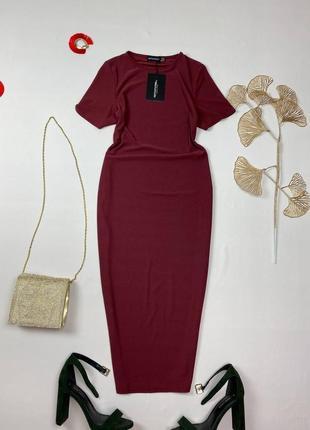 Бордовое миди платье по фигуре prettylittlething1 фото