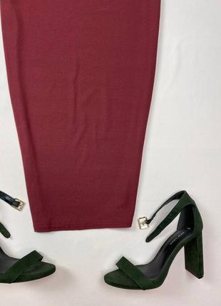 Бордовое миди платье по фигуре prettylittlething3 фото