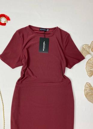 Бордовое миди платье по фигуре prettylittlething2 фото