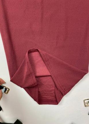 Бордовое миди платье по фигуре prettylittlething4 фото
