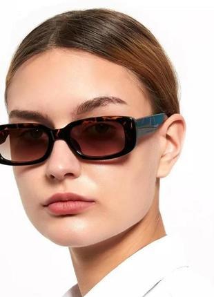 Крутые очки солнцезащитные ретро прямоугольные анималистические коричневые окуляри сонцезахисні