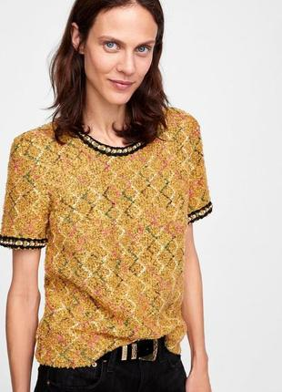 Твидовая футболка с жемчугом zara