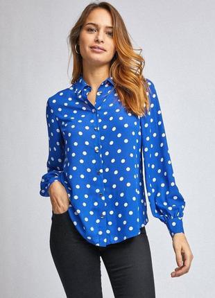 Летняя рубашка оверсайз в горошек небесно голубого цвета. оригинал. распродажа