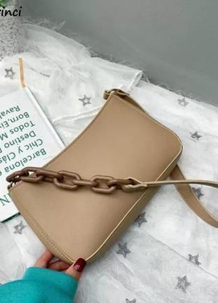 🔥базовая сумочка с цепью сумка бежевая🔥