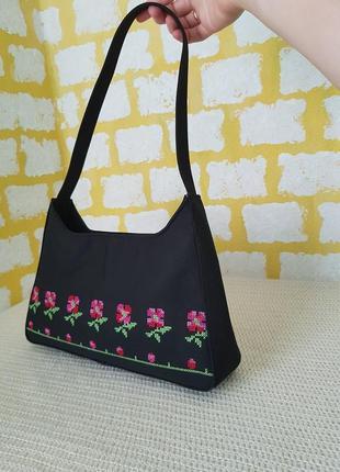Уникальная винтажная сумка-багет jane shilton с вышивкой крестиком, цветочный принт, сумочка на плечо