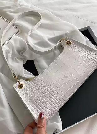 🔥стильная сумка-багет белая сумочка с тиснением🔥