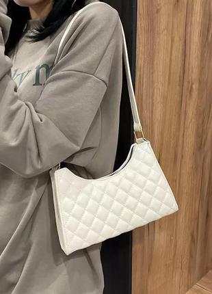🔥нюанс🔥классная сумочка молочного цвета сумка в ромбик🔥