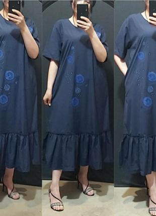 Шикарное платье с воланом, люкс качество, размер батал.
