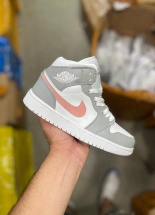 Nike air jordan🆕женские шикарные кроссовки найк аир джордан🆕серо-белые с разовым