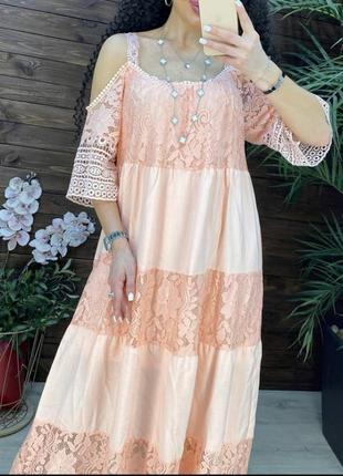 Невероятно шикарный сарафан платье на брителях, люкс качество,кружево.