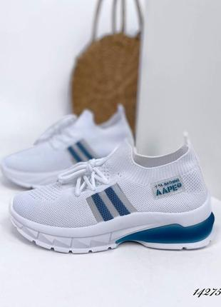 Женские кроссовки millier 14275 белые+синий текстиль