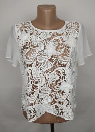 Блуза белая шикарная кружевная uk 10/38/s