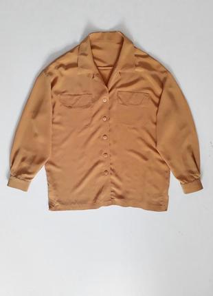 Винтажная натуральная шелковая рубашка блуза с накладными карманами цвета охры