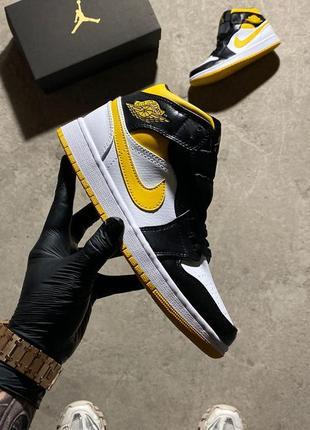 Nike air jordan🆕женские шикарные кроссовки найк аир джордан🆕желтые с черно-белым