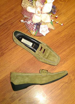 Замшевые удобные туфли, лоферы janet d 39р