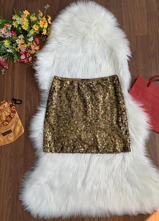 Золотая расшитая паетками мини юбка от h&m