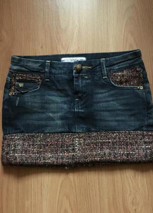 Стильная мини юбка италия джинс джинсовая fracomina