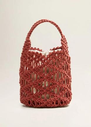 Ажурная вязаная сумка торба mаngo