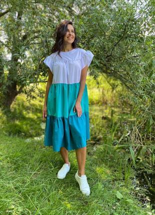 Платье сарафан в полоску полосатое трехцветное миди
