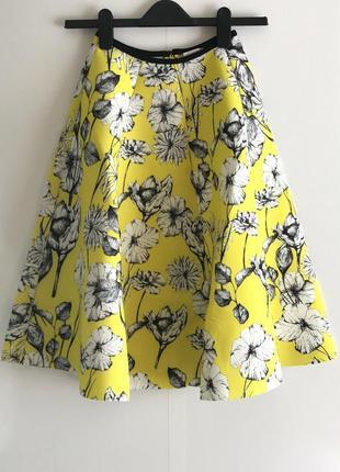 Юбка желтая  h&m с цветочным принтом