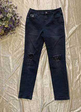 Стильные джинсы скинни с заплатками george на 9-10 лет