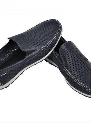 Мокасины, туфли мужские, натуральная кожа и нубук, темно-синий
