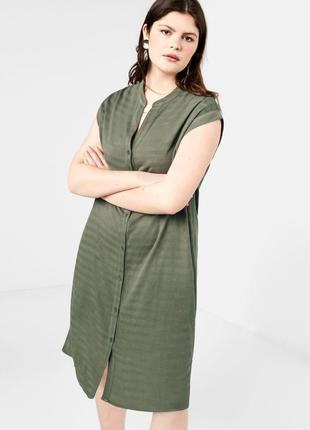 Фактурное платье рубашка mango violeta плюс размер - 48-50р.