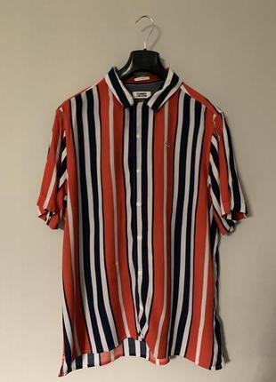 Рубашка в полоску, полосатая tommy hilfiger, оверсайз