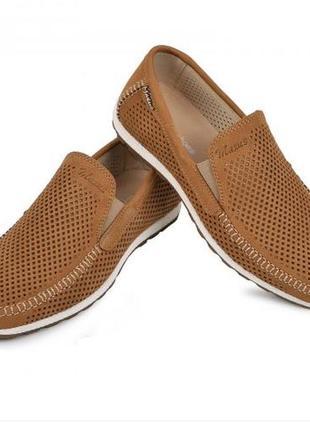 Мокасины, туфли мужские, натуральная кожа и нубук, цвет табак
