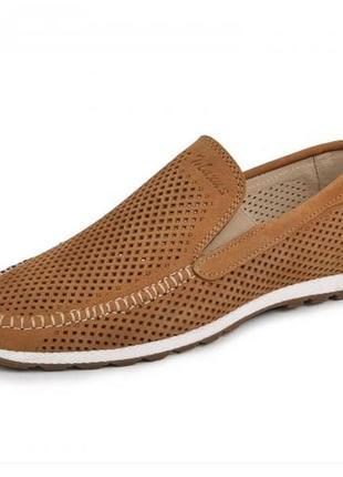 Мокасины, туфли мужские, натуральная кожа и нубук, цвет табак2 фото