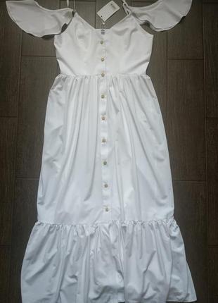 Платье длиное на брительках с пуговицами