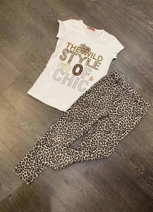 Леопардовые джинсы туника