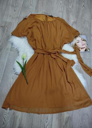 Женские лёгкое свободное платье с поясом миди