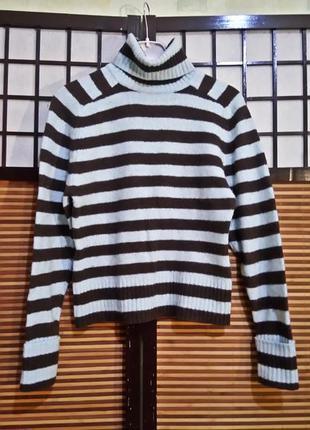 Распродажа!милый полосатый шерстяной свитер с воротом джемпер