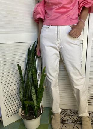 Шикарные винтажные брюки джинсы молочного цвета на высокой посадке премиум бренда klaus thierschmidt
