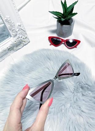 Новые ассиметричные очки в серебряной оправе с розовыми стёклами 👓
