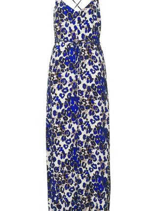 Платье миди/макси с разрезом в леопардовый принт