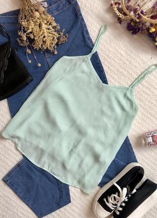 Летняя майка блуза мятного цвета прямого кроя