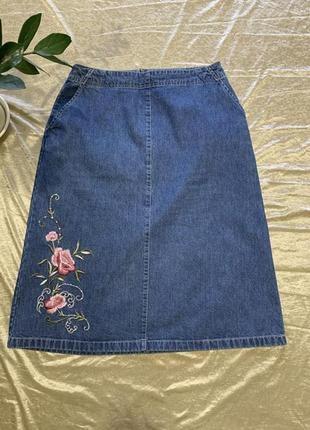 Джинсовая юбка миди c вышивкой bhs размер l евро 42 (14)