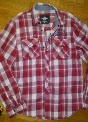 Классная плотная рубашка в клеточку хлопок h&m на 8-10 лет