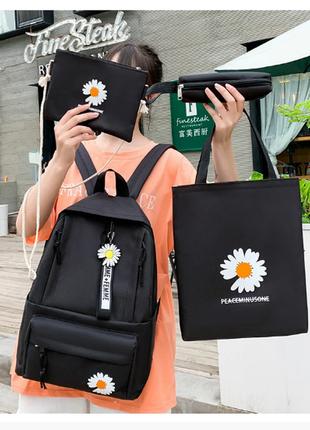 Рюкзак женский сумки пенал комплект черный