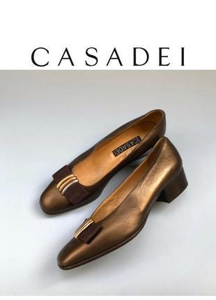 Casadei винтажные туфли кожаные на низком каблуке дизайнерские бант rundholz