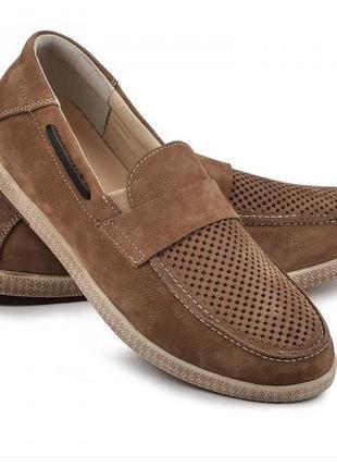 Мокасины, туфли мужские, натуральная кожа и нубук, коричневый