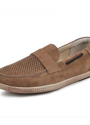 Мокасины, туфли мужские, натуральная кожа и нубук, коричневый2 фото
