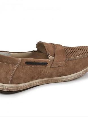 Мокасины, туфли мужские, натуральная кожа и нубук, коричневый3 фото