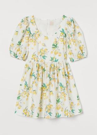 Хлопковое платье с объемными рукавами лимонный принт h&m p m