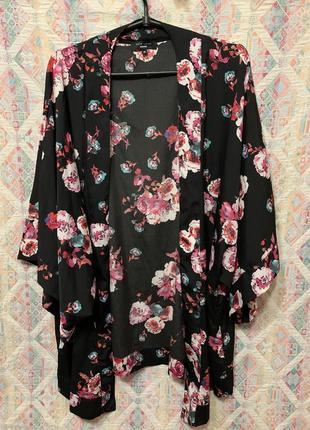 Накидка пляжная туника кимоно цветочный принт большой размер 24 26