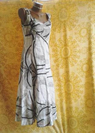 Хлопковое платье белое с серым принтом, м\10 , германия/apanage.