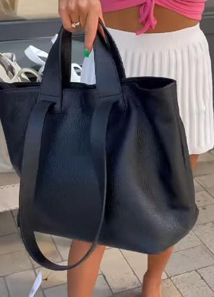 Черная кожаная сумка шопер