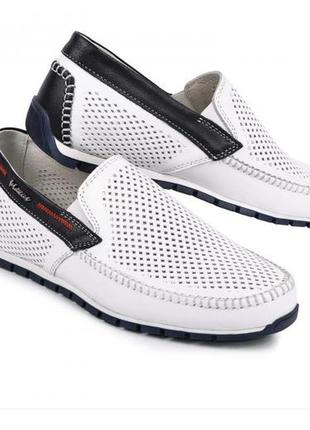 Мокасины, туфли мужские, натуральная кожа и нубук, белые